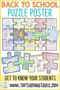 Back to School Puzzle Poster - Use this engaging, dynamic, and interactive resource to get to know your year 4-8 students at the start of the school year. This fun All About Me activity includes 15 puzzle pieces with a range of artistic and writing tasks. Students will reflect on their summer, create a classroom map, discuss their teacher, favourite things, family tree, school lunch, AND more. Start with a meaningful, fun activity on the first day of school!