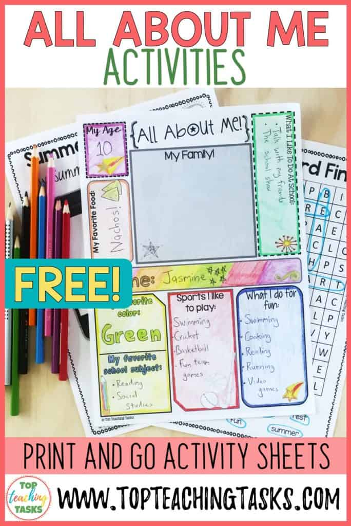 These Back to School activities will help your students to get to know each other - and you as their teacher. Enjoy taking part in these games and simple print and go worksheets during the busy first days of the school year.