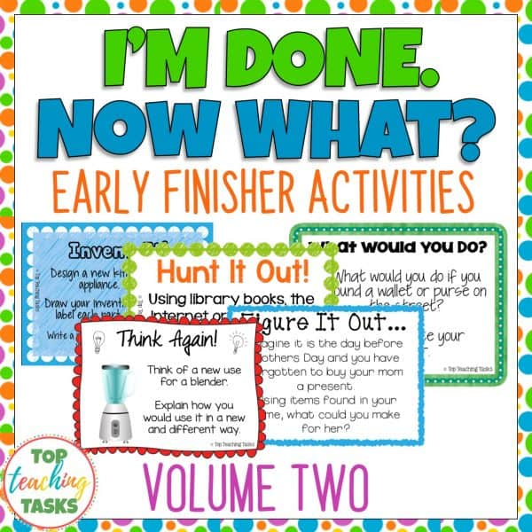 Early Finishers Activities Task Cards Volume Two