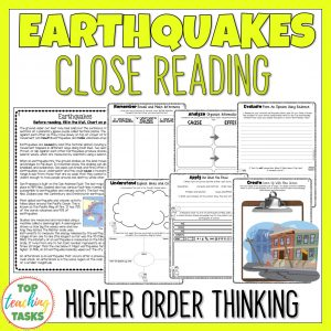 Earthquakes Reading Comprehension Passage and Questions