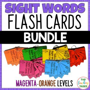 New Zealand Sight Words Flash Cards for Magenta to Orange Levels