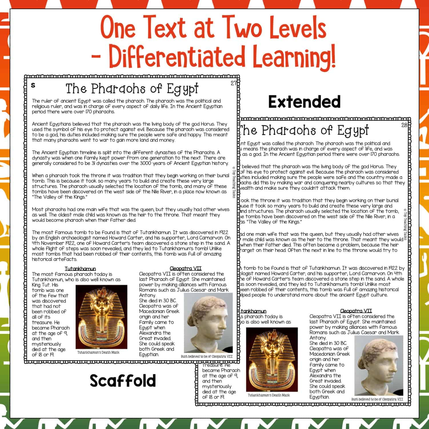 Pharaohs Reading Prehension Passages And Questions