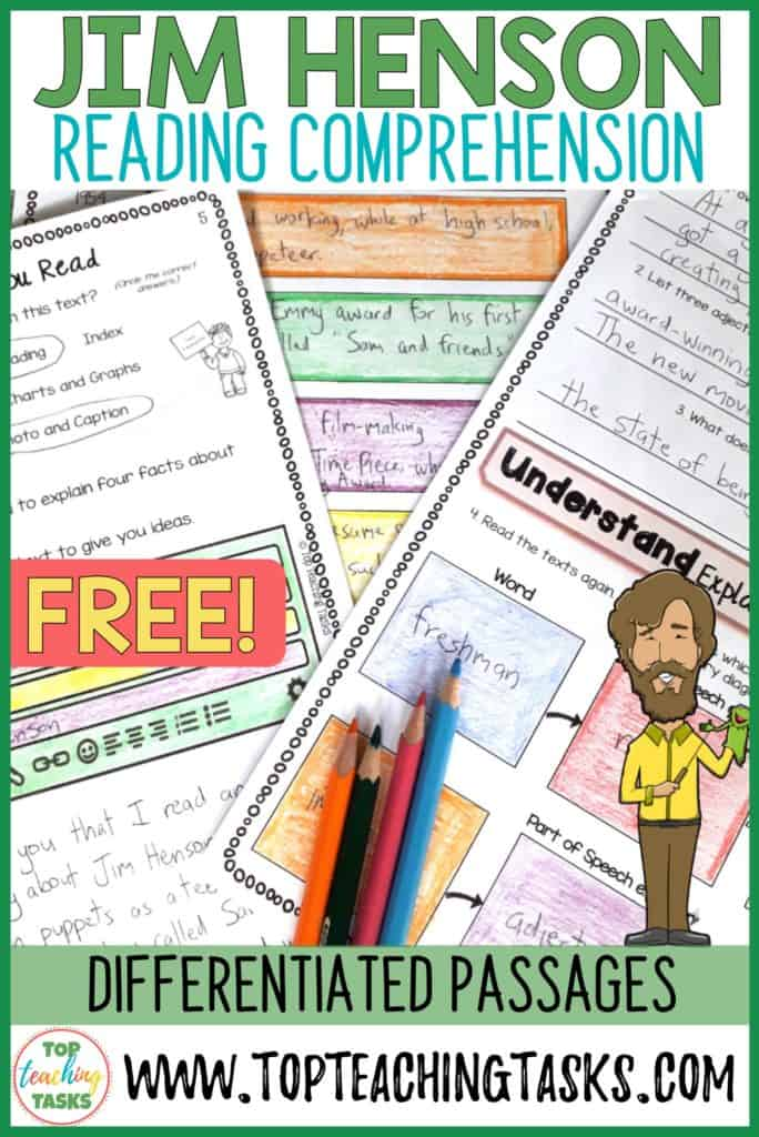 im Henson Reading Comprehension Activities FREE Resource. This resource has everything a teacher needs to learn more about the Muppet's creator, Jim Henson. This close reading resource features differentiated Reading Passages and higher order thinking follow up activities. Classroom teachers enjoy our one-stop Close Reading print and go resources, especially the graphic organisers, differentiated passages, and higher order thinking {year 5, year 6, year 7, year 8, freebie, free resource}.