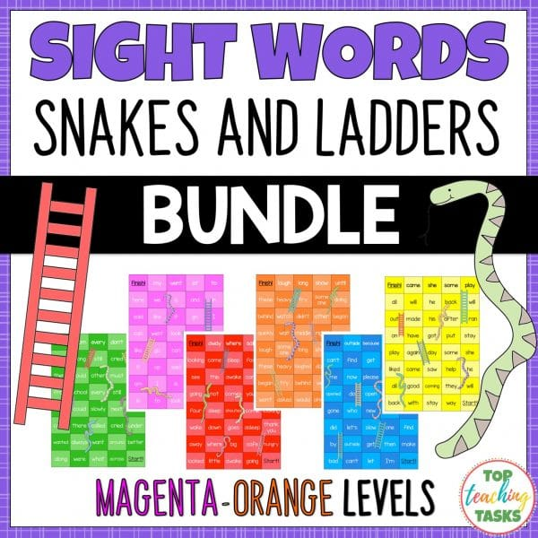 Sight Words Snakes and Ladders