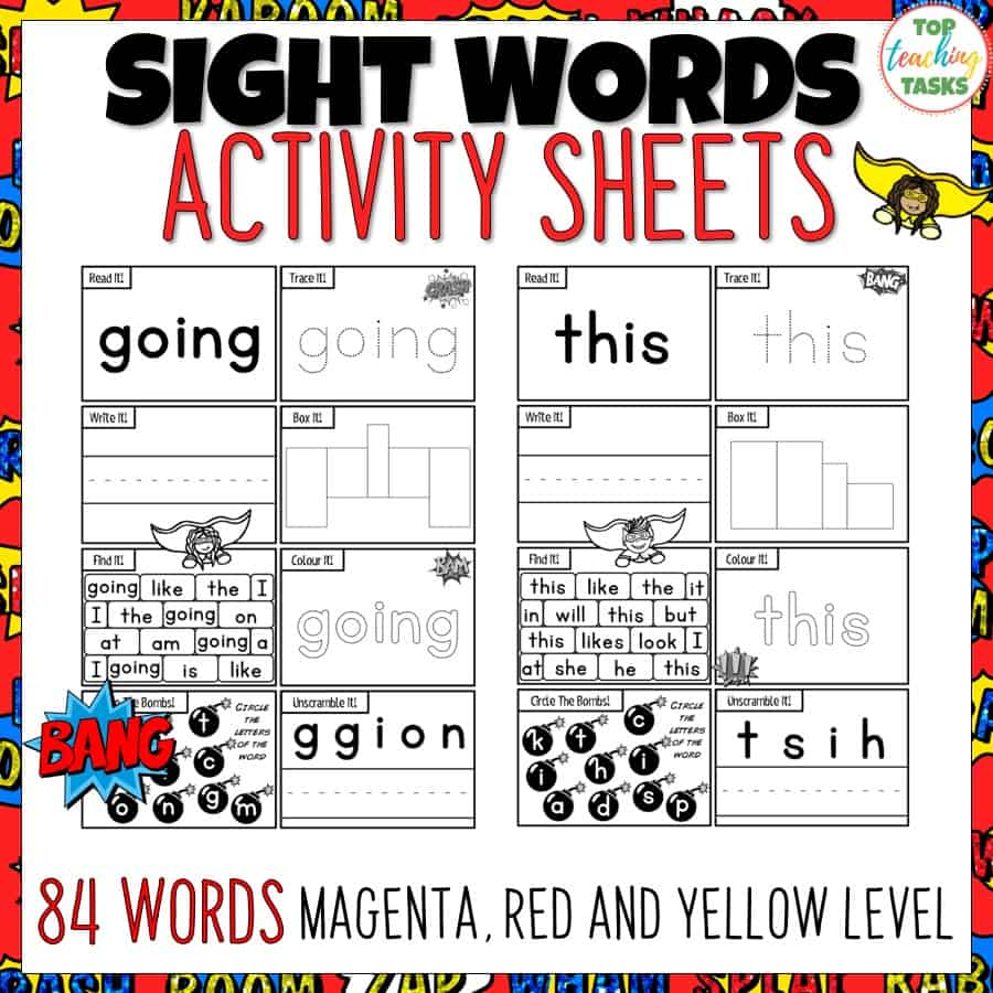 Sight Words Activity Sheets. Sight Words Activity Sheets. These worksheets contain superhero themed sight word activity sheets feature 84 high frequency sight word activities! This is great for reading fluency, test prep, and homework. Great for preschool, kindergarten, Grade One, Year One, New Entrant activities. Use these sight words New Zealand activities and games as part of your Word Work Daily 5 activities, as a homework activity or as an addition to your literacy program. {New Entrants, Year One, Year Two}.