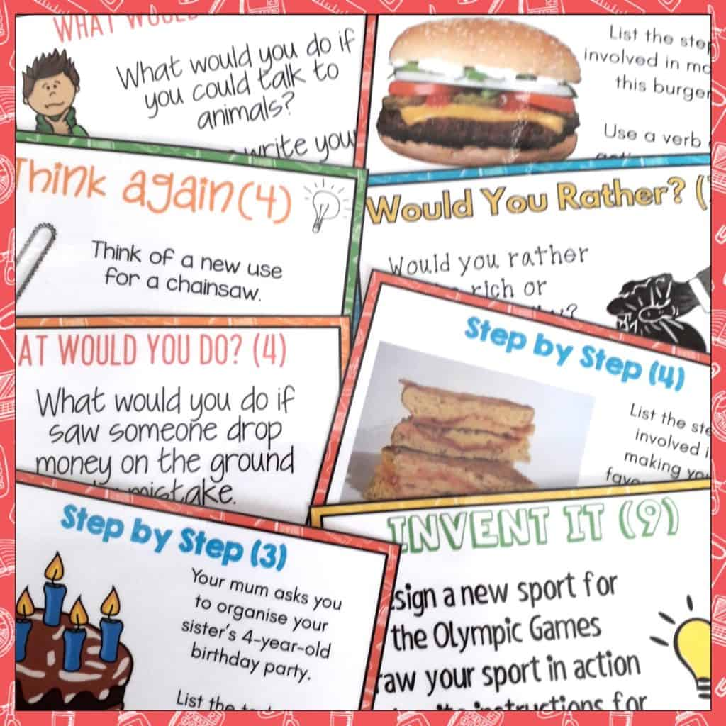 """Early Finishers Activities. These Early Finisher Task Cards answer the common classroom question, """"I'm Done. Now What?"""" Superb for Back to School! These print and go task cards are great activities build creative thinking, sequencing, persuasive writing and cause and effect skills. These are useful as an enrichment activity, as a bonus reward or bell ringer activity in your grade three, grade four, or grade five classroom. 4th grade early finishers, 5th grade early finishers."""