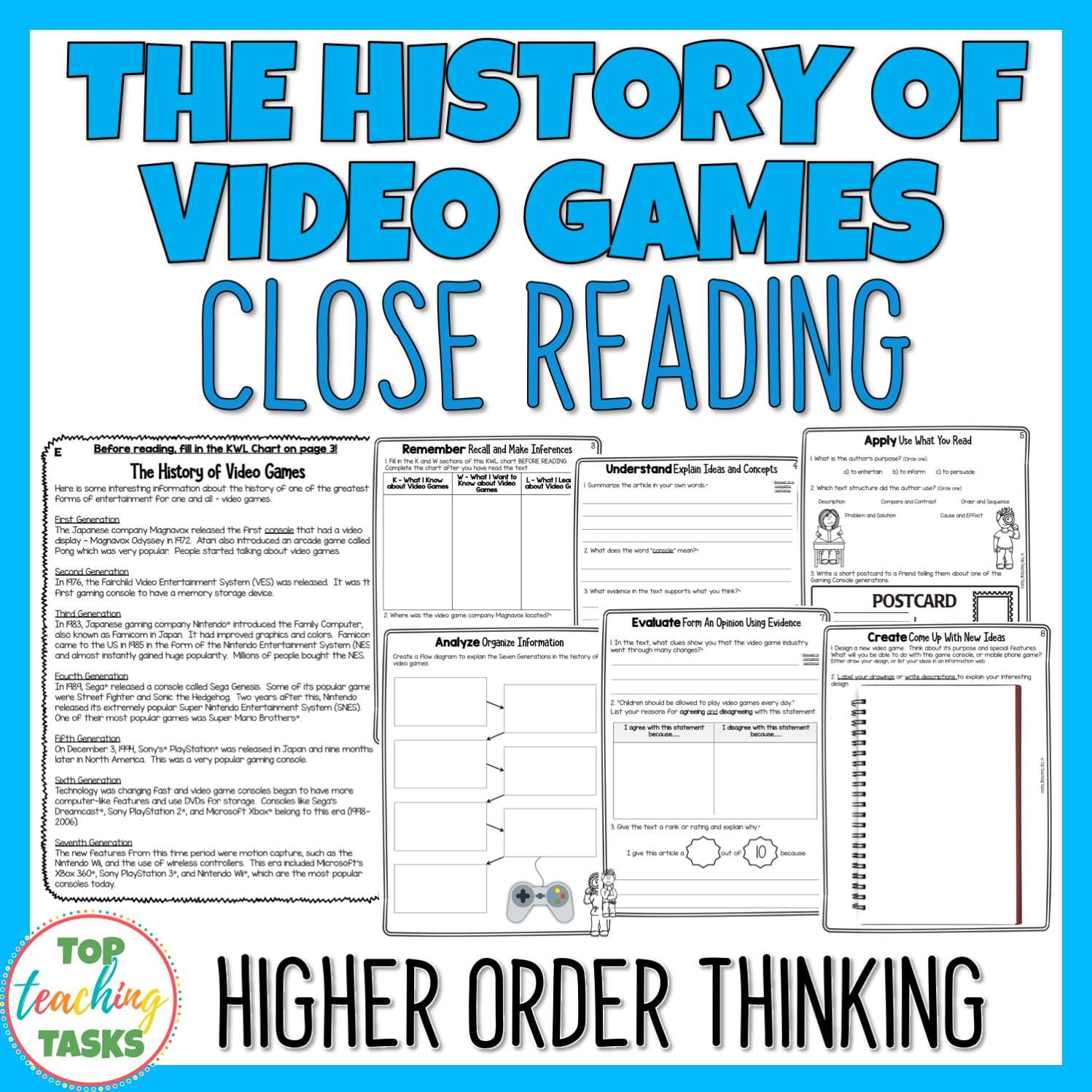 - The History Of Video Games Reading Comprehension Passages And