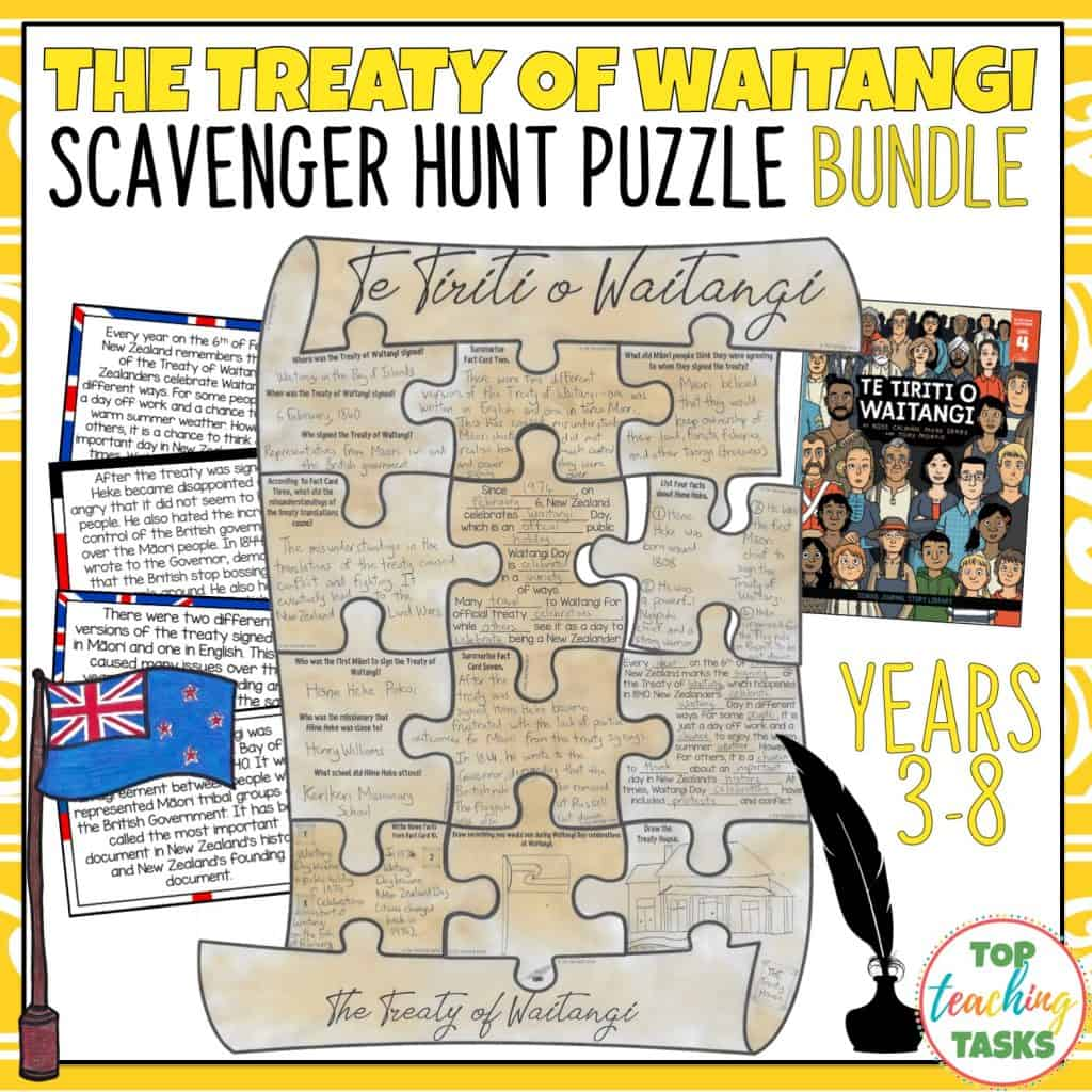 Engage your students in Waitangi Day Commemorations and learn about New Zealand's founding document with our interactive Treaty of Waitangi puzzle bundle. Your students will learn about the history of Te Tiriti o Waitangi, the history and traditions of Waitangi Day, the Maori chief Hōne Heke, the impact of the treaty, and how Waitangi Day is observed now.