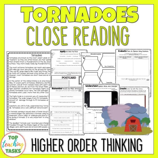 Tornadoes Reading Comprehension Passage and Questions