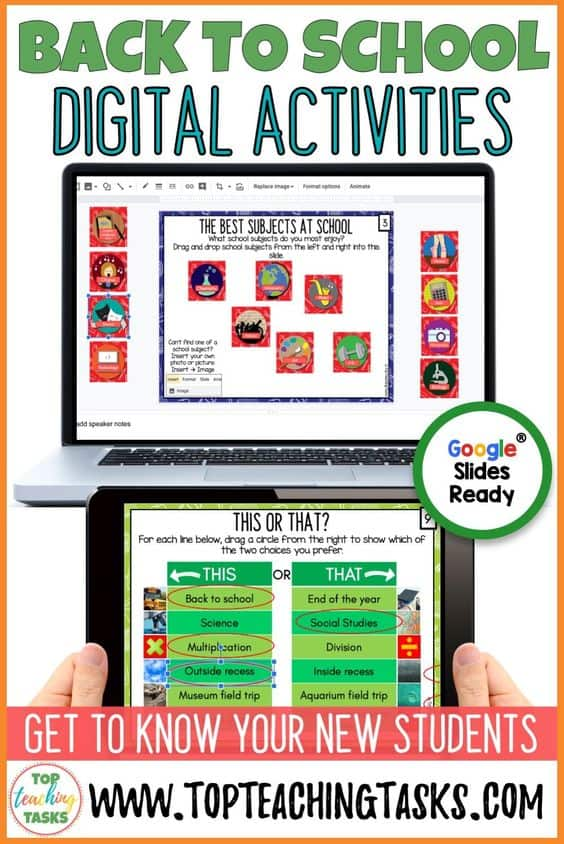 "Back to School Digital Activities. Go paperless with our ""Getting to know you"" digital activities for Google Classroom. Start off the Back to School season in style with these dynamic, engaging and interactive activities - great for first day of school activities. Get to know your elementary students and learn about their thoughts, feelings, and favorites with this great ""All About Me"" activity! The purpose of this resource is to capture who your students are right now and to get to know your students from day 1."