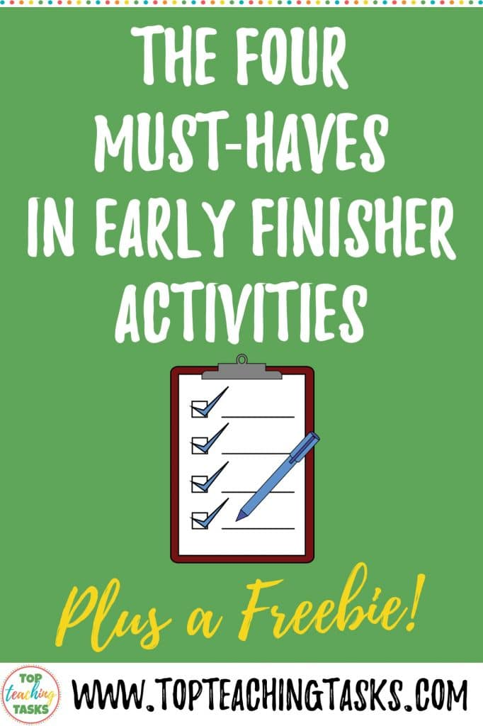 """Early Finishers Activities are a must in your classroom. We have all heard the dreaded, """"I'm Done, Now What?"""" Usually, it comes right when you are in the middle of working with a small group or testing a student - basically, right when you don't need it. Read on to find the 5 must-haves of early finishers activities for your elementary or primary classroom."""