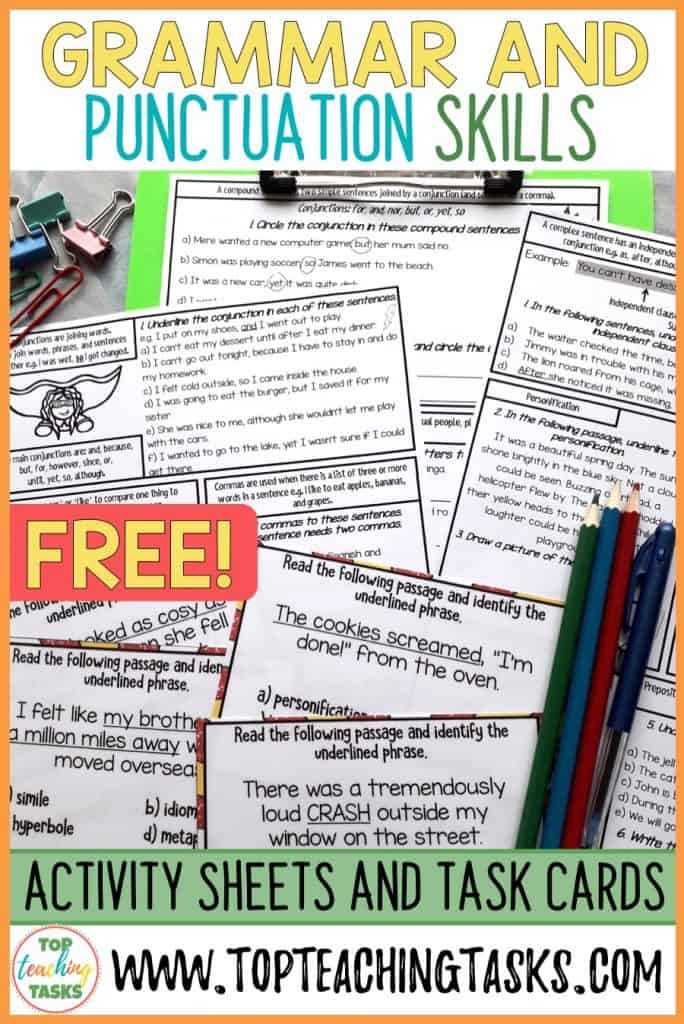 Save your time and help your students to retain and reinforce their grammar and punctuation skills with our free grammar and punctuation activity sheets. This free sample features an activity sheet for both year 3 and 4, year 5 and 6 and year 7 and 8. It also features a sample of our figurative language multi choice task cards. These activities align with both the New Zealand Literacy Skills Progressions and the Australian Literacy Learning Progressions.