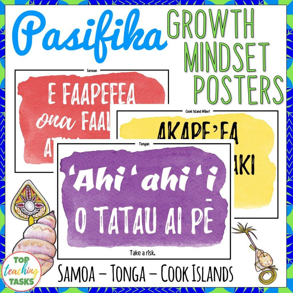 Samoa, Tonga and Cook Islands Māori Growth Mindset Posters | Pacific Islands