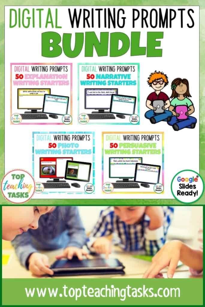 Go paperless with ourDigital Writing Prompts Bundle!Encourage independence with this easy to use writing activity pack featuring 200 writing prompts. This Google Resource will have your students writing using Google Slides in no time! Features Narrative, Explanation, Persuasive and Photo Writing Prompts