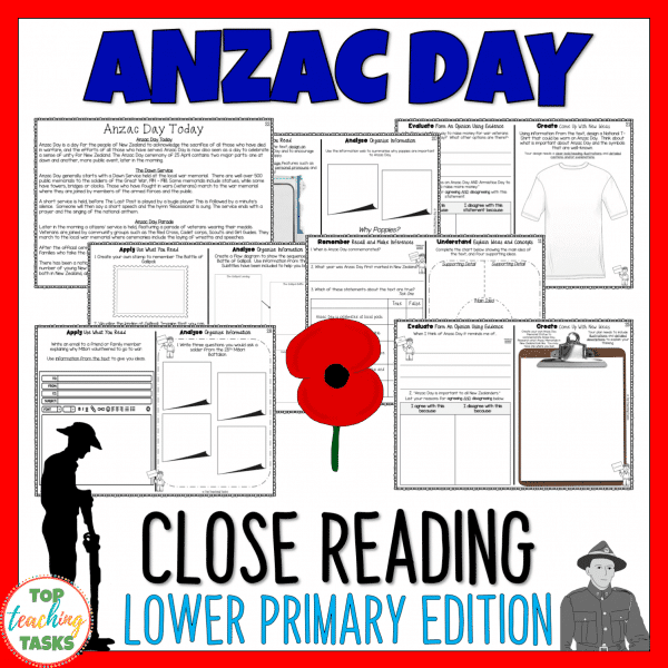 Anzac Day Lower Primary Reading Comprehension