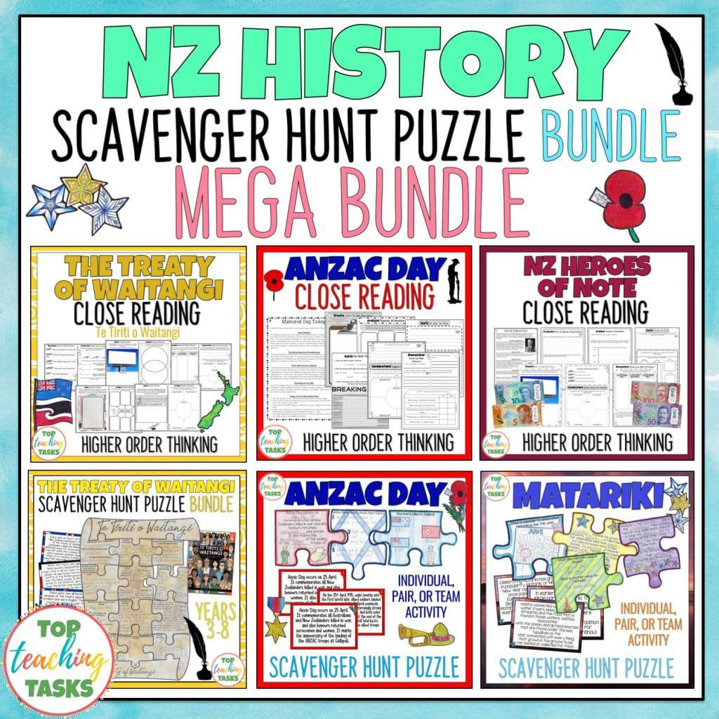 Highlight important moments and people from New Zealand's history with our New Zealand History Reading Comprehension mega bundle! This features differentiated Reading Comprehension passages and questions with higher order thinking activities based on THREE topic areas: The Treaty of Waitangi and Waitangi Day, Anzac Day and NZ Heroes of Note. Also, receive a FREE resource on the New Zealand Land Wars. This mega bundle also features three scavenger hunt puzzle posters: The Treaty of Waitangi, Anzac Day and Matariki.