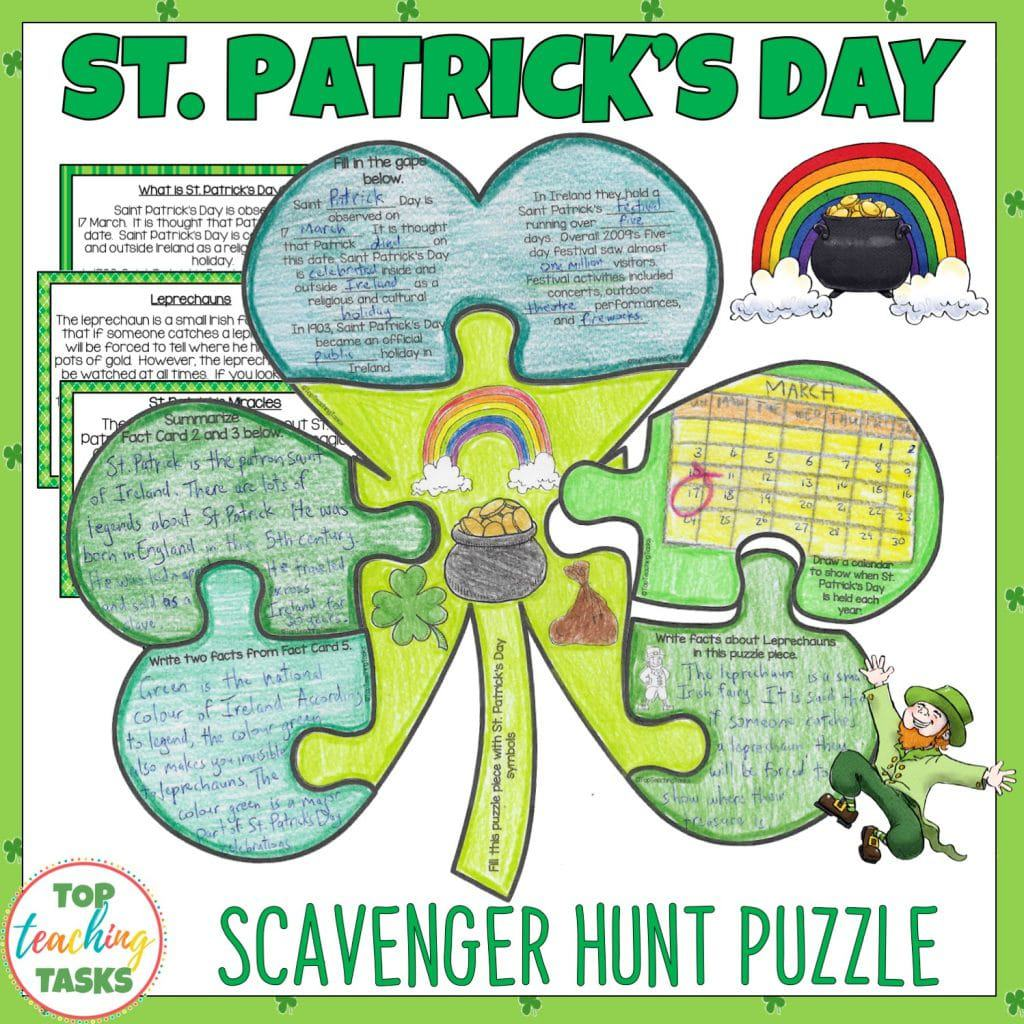 St. Patrick's Day Reading Comprehension Scavenger Hunt Puzzle. Use this engaging resource to teach your upper elementary students about the celebration, history, and symbols of St. Patrick's Day, those tricky leprechauns and more! This fun reading comprehension activity includes fact cards and puzzle pieces with a range of artistic and literacy activities. Brighten your classroom or bulletin board {Grade 4 and 5, St. Patrick's Day, reading activities, ELA}.