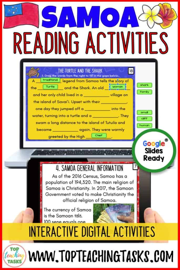 Samoa Digital Reading Activities. Engage your students in the study of Samoa with our paperless Samoa Digital Reading Comprehension Activity. Your students will learn about the geography, history, language, and culture of the Pacific nation of Samoa. Distance Learning Samoan Language Week. Great for Samoa Language Week.