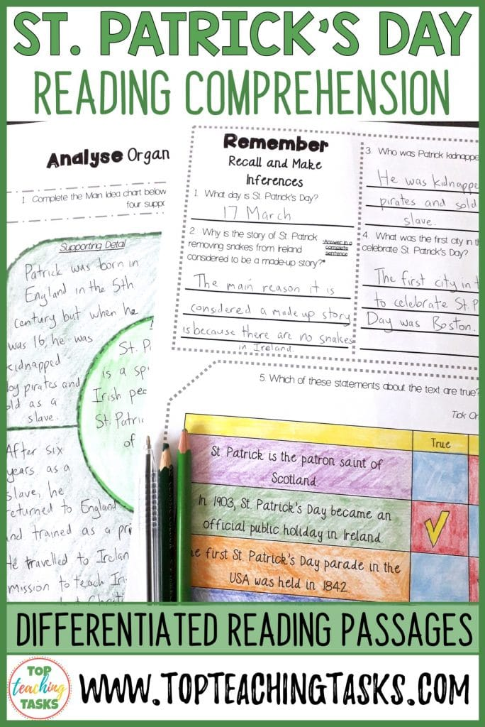 St. Patrick's Day Reading Comprehension Passages and Questions. Be ready for St. Patrick's Day with this reading packet full of reading comprehension passages, St. Patrick's Day reading activities. Perfect for small groups, reading lesson plans, teaching ideas, and reading centers. St. Patrick's Day, Teaching Ideas,