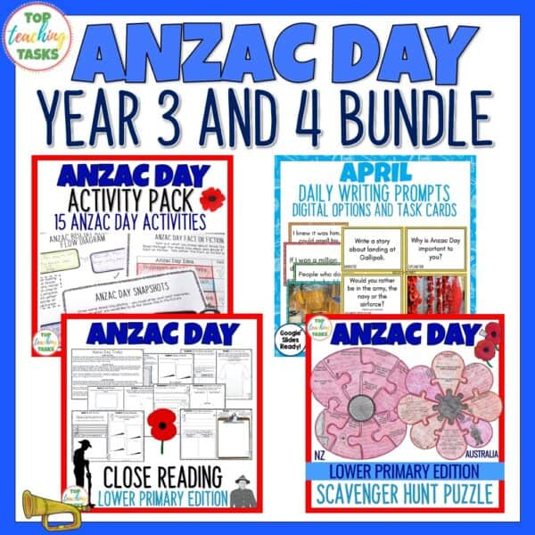 Anzac Day Year 3 and 4 bundle