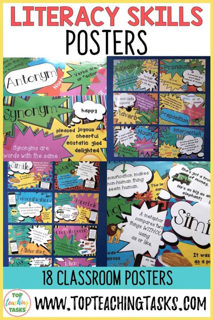 Brighten up your classroom walls and create an engaging learning environment with our Literacy Skills Rules and Definitions Poster Bundle. Your students will be able to refer to the literacy skills rules and definitions for vocabulary, punctuation, figurative language, parts of speech, word work and sentence structure.