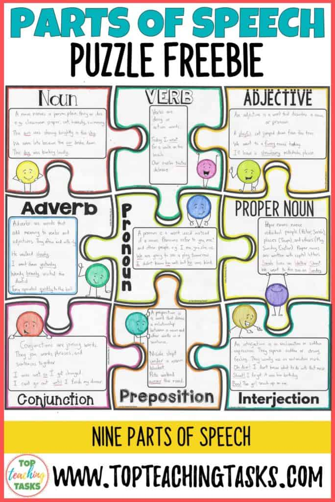 Parts of Speech Puzzle freebie. This parts of speech freebie is a fun and effective way for students to learn about the various parts of speech. You could either do this a whole class or individual activity with your elementary students.