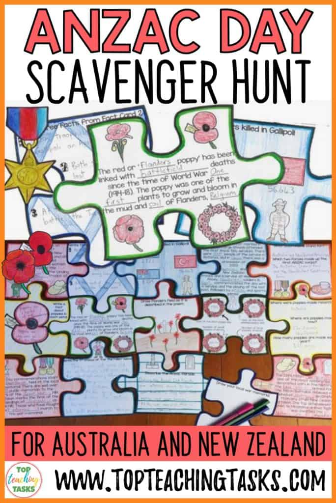 Anzac Day Scavenger Hunt Puzzle Poster. Engage your students in the Anzac Commemorations with our interactive scavenger hunt and puzzle pack! Your students will learn about Anzac Day's history, the battle of Gallipoli, the significance of poppies, how Anzac Day is celebrated today, and who the 28th Māori Battalion were. Display the 15 fact cards around the room, and hand out the puzzle pieces. Students use the facts to complete their interactive puzzles. #AnzacDay