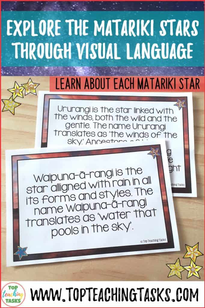 Matariki, the Māori New Year, has many symbols that explain its significance. I've put together this blog post to explain how to explore the Matariki stars through visual language. Read on to see a step by step process of how the Matariki stars can be used as a great context for exploring symbols and symbolism with your students. They will love this great Matariki activity.