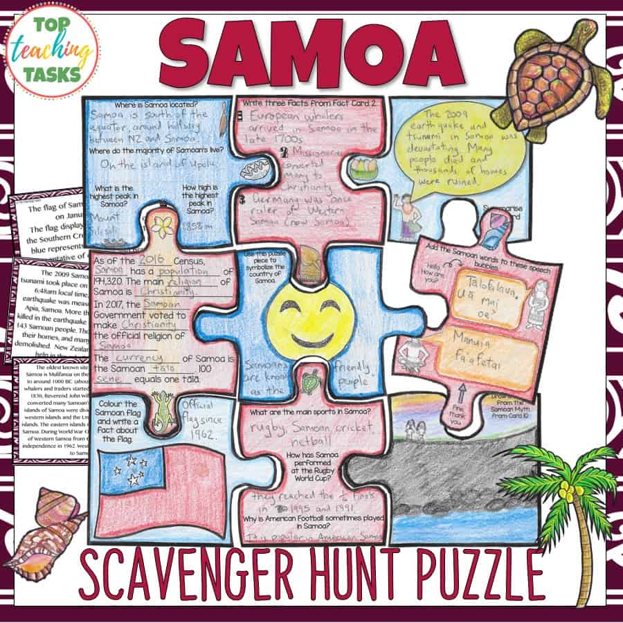 Samoa Scavenger Hunt Puzzle. Engage your students with our interactiveSamoa scavenger hunt and puzzle pack. Your students will learn about the geography, history, language, and culture of the Pacific nation of Samoa. This would be great forSamoan Language Week, as a social studies product, and in your guided reading program!