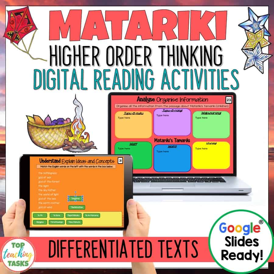 Go paperless with our Matariki Digital reading comprehension resource! Learn about the history of Matariki, investigate how Matariki is celebrated today, and explore Matariki myths and legends. Featuring differentiated reading passages and questions, this Google slides resource includes four passages (at two levels) with six-eight unique slides of engaging text-dependent questions and higher order thinking interactive tasks.This Matariki Digital Activity is targeted towards Year 5-8 readers.