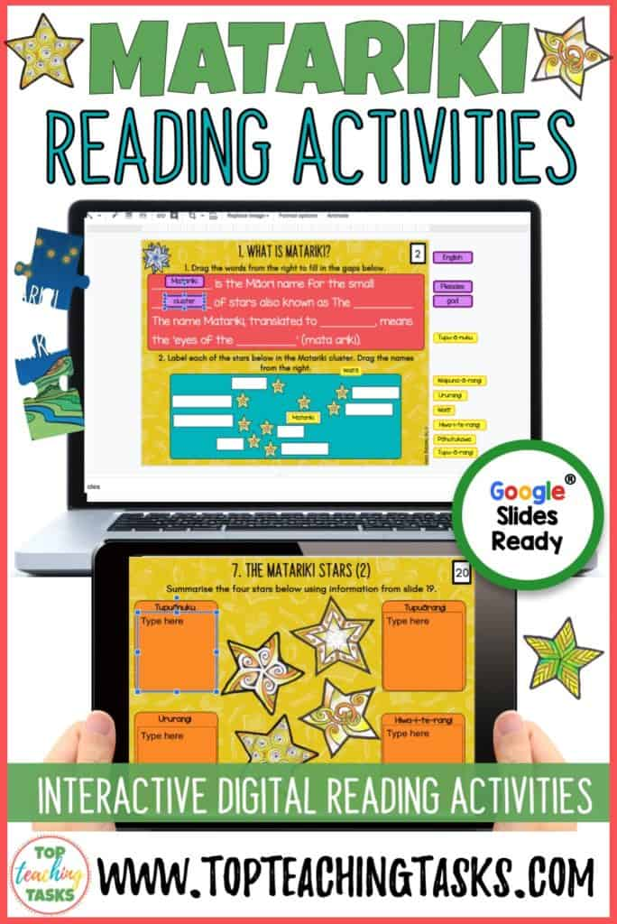 Matariki Digital Activities. Go paperless with our Matariki Digital Scavenger Hunt resource. Engage your students in the Māori New Year celebrations with our interactive digital scavenger hunt and puzzle pack. Your students will learn about the history of Matariki, Matariki celebrations today, and the nine Matariki stars (updated with the latest research). This resource features a full resource for Year 3-4 and Year 5-8. Students complete activities to earn puzzle pieces and produce a beautiful Matariki puzzle poster. Perfect for Google Classroom or Microsoft One Drive.