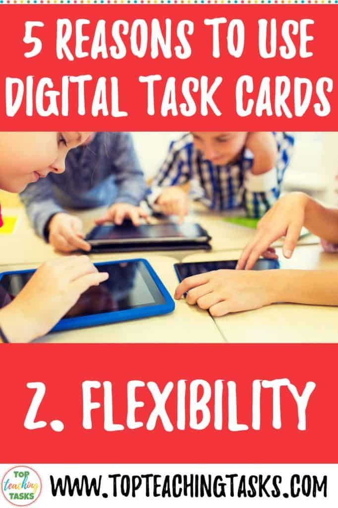 Digital Task Cards are a great way to engage your students in 21st-century learning. Read on to learn 5 Reasons to use Digital Task Cards in your Classroom! Digital Task Cards are paperless task cards used on digital devices such as Google Slides, iPads, laptops and cellphones. The flexibility of this form of resource makes it suitable for 1:1 device classrooms, BYOD (Bring Your Own Device) Classrooms, and classrooms with access to some devices throughout the school week. #digitaltaskcards