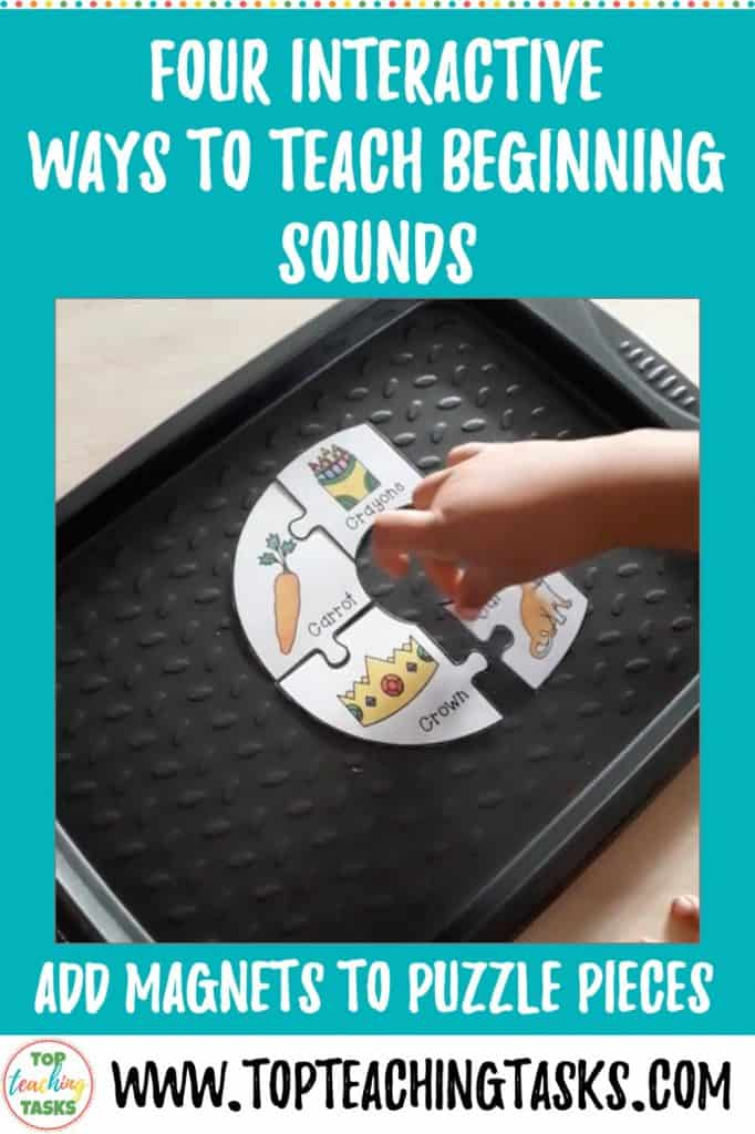 This blog post explains Four Interactive Ways to Teach Beginning Sounds. I explain how you can use magnets, match to alphabet puzzles, and how to form letters with blocks and play dough. Students will be engaged learning the alphabet letter formation and also recognising initial sounds and beginning sounds.