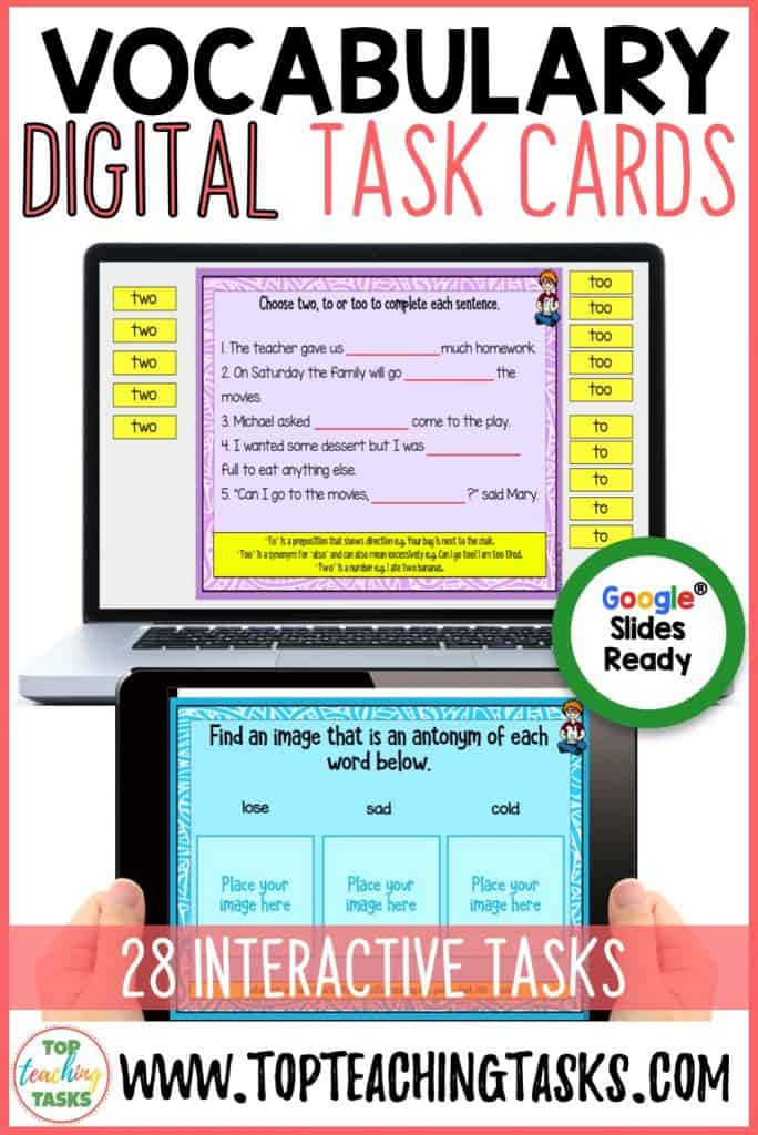 Vocabulary Digital Task Cards. Go paperless with our Google Slides-ready vocabulary language writing resource! 50 interactive slides. Mobile Learning. Google Resource. Digital Classroom. They are great for early finishers, bell ringer activities, learning
