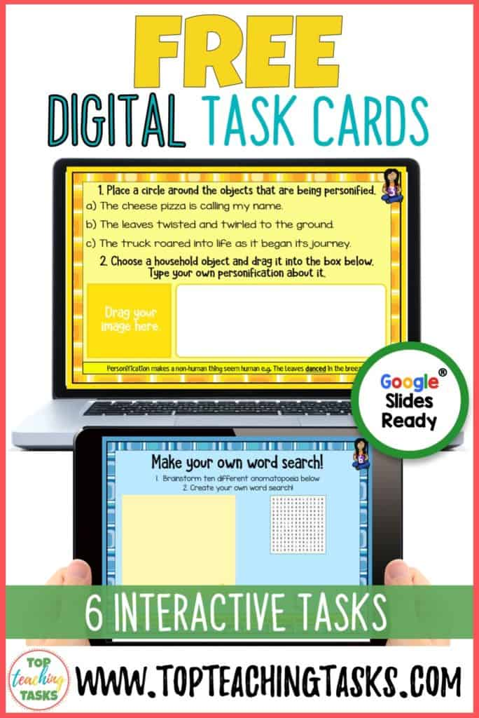Get our free set of Figurative Language Digital Task Cards. Click here to get yours today. These can be used on a range of digital devices and apps such as Google Slides, Seesaw and Microsoft OneDrive.