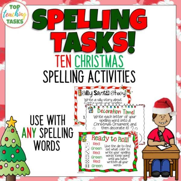 Christmas Spelling Words.Christmas Spelling Activity Task Cards And Print And Go Student Worksheets