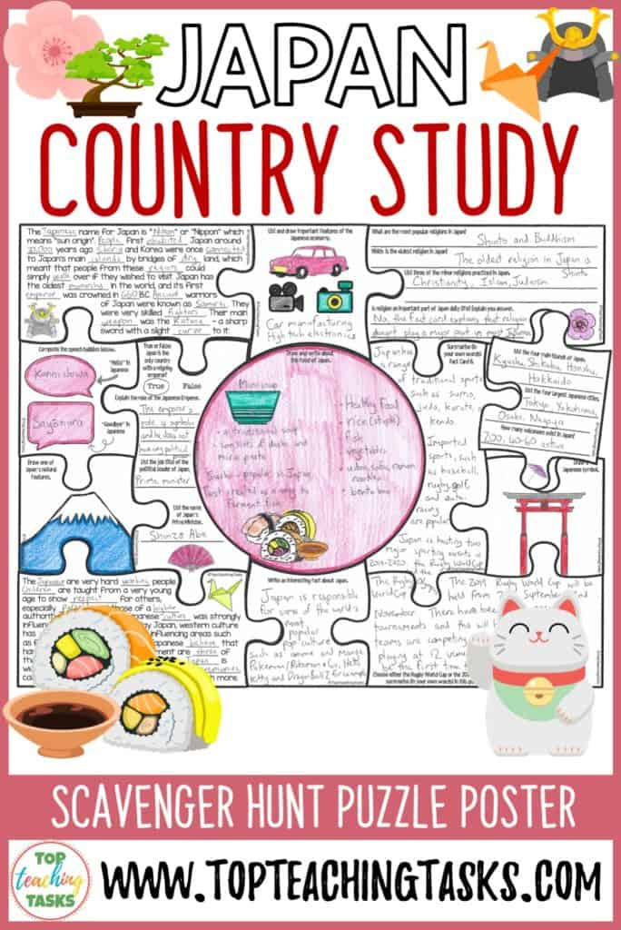 Your students will love learning about Japan with our Japan Country Study Scavenger Hunt. Your students will learn about the history, food, culture, economy, politics, sport, geography, and natural features of Japan… and more! This product would be a great addition to a Rugby World Cup 2019 or Tokyo Summer Olympic Games unit.