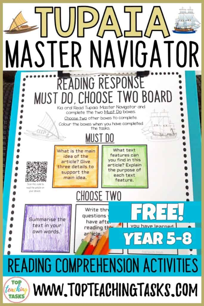 During October, New Zealand is commemorating 250 years since the first onshore meetings between Māori and Europeans. An important, but lesser-known, figure in this part of New Zealand's history is the navigator and high priest Tupaia. This Tupaia Reading Response activity includes a print-and-go worksheet set out in a Must Do, Choose Two style. Build independence and student through choice.