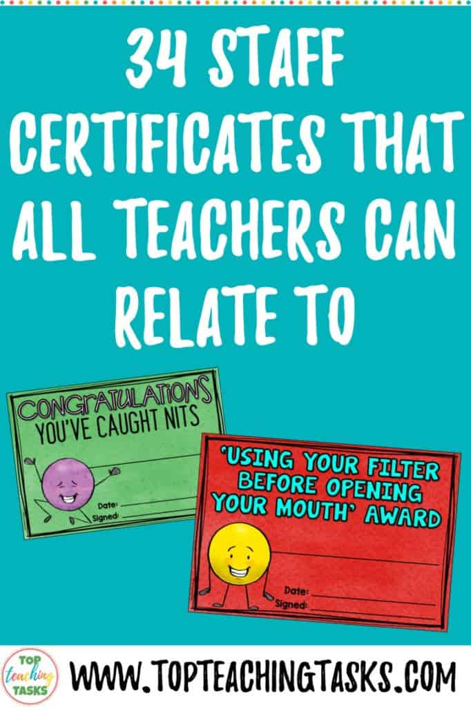 34 staff certificates that all teachers can relate to. I've created 34 Staff Certificates that ALL teachers will relate to. Share this post and tag a teacher who will understand!⁣ ⁣Thanks to all those who shared their ideas - I received over 200 suggestions End of the Year. Teacher encouragement. Teacher staff party ideas