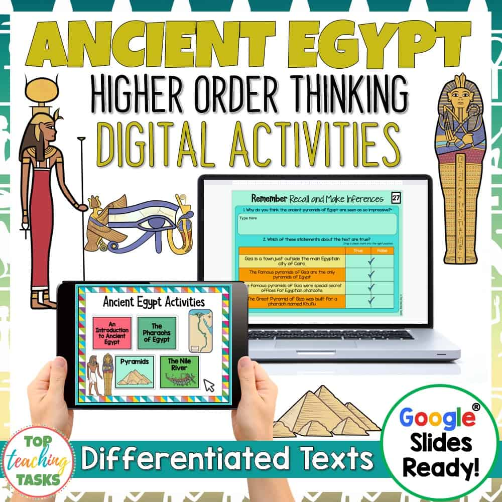 Ancient Egypt Digital Reading Comprehension. Ancient Egypt Digital Reading Comprehension Resource. Go paperless with our Ancient Egypt Digital Reading Comprehension for Google Classroom – great for digital guided reading! Learn about pyramids, the pharaohs of Ancient Egypt, the Nile River, and more with our differentiated reading passages and questions. This Google Slides resource includes four passages (at two levels) with at least seven unique slides of engaging text-dependent questions.