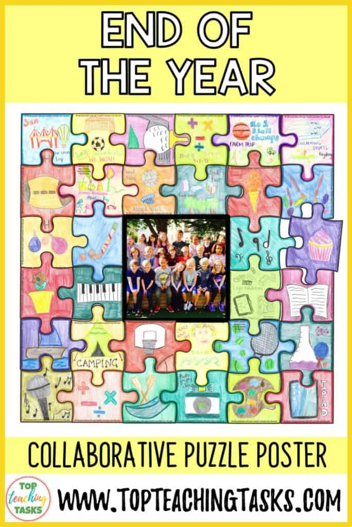 Celebrate a fantastic school year and help your students to remember it forever with this engaging and meaningful end-of-year collaborative activity. Students create a collaborative jigsaw puzzle that serves as a visual reminder of a great year, while also reinforcing the ideas of teamwork and classroom unity. Display the amazing puzzle and wow your school!