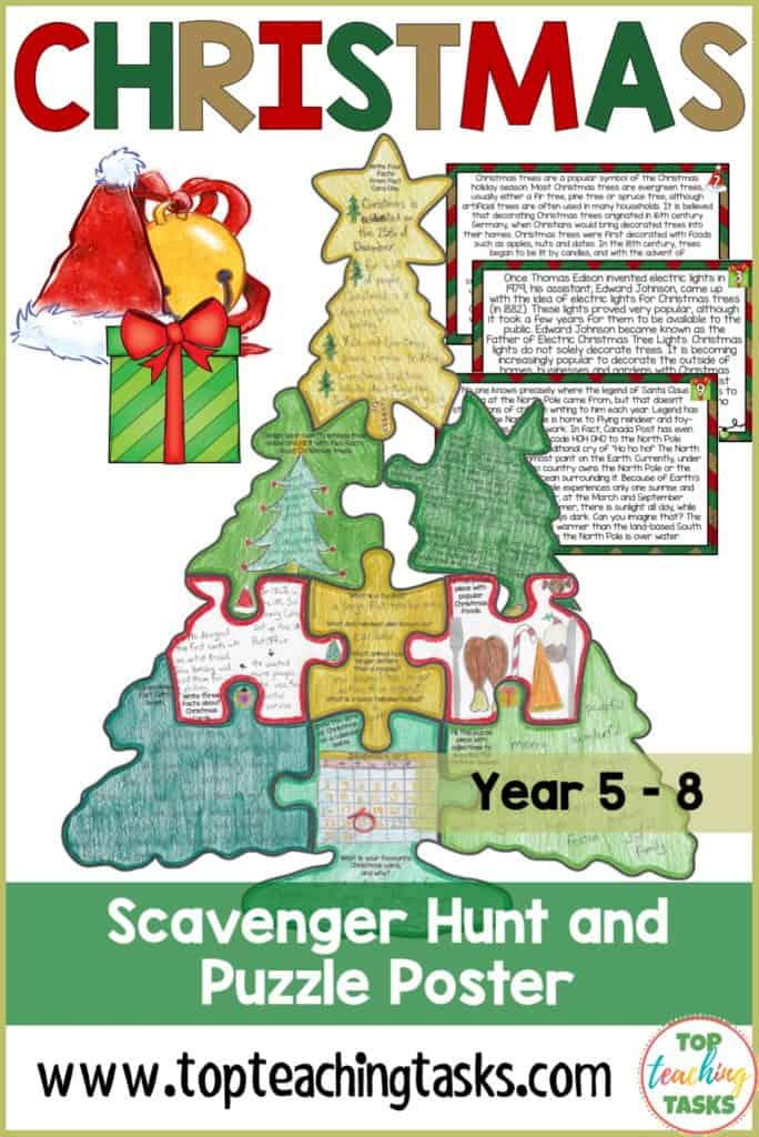 Christmas Reading Comprehension Scavenger Hunt Puzzle. Use this engaging resource to teach your upper elementary students about the festive celebration of Christmas, the history of Christmas trees, lights and cards, Santa Claus and Saint Nicholas, the North Pole, reindeer, and more! This fun reading comprehension activity includes 10 fact cards and nine puzzle pieces with a range of artistic and ELA activities. Brighten your classroom or bulletin board {Grade 3, 4, 5, Christmas activities}