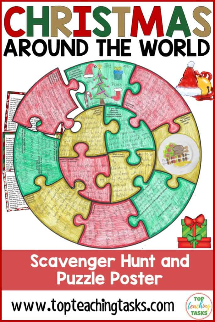 Celebrate the festive season this winter and improve reading comprehension with our Christmas Around the World interactive scavenger hunt puzzle. The completed puzzle posters will brighten your classroom walls or bulletin boards. Learn about the way Christmas is celebrated in the United States, New Zealand, Brazil, Portugal, Japan, Zimbabwe, Germany and Norway. Your grade 4 and grade 5 elementary students will enjoy this inclusive activity.