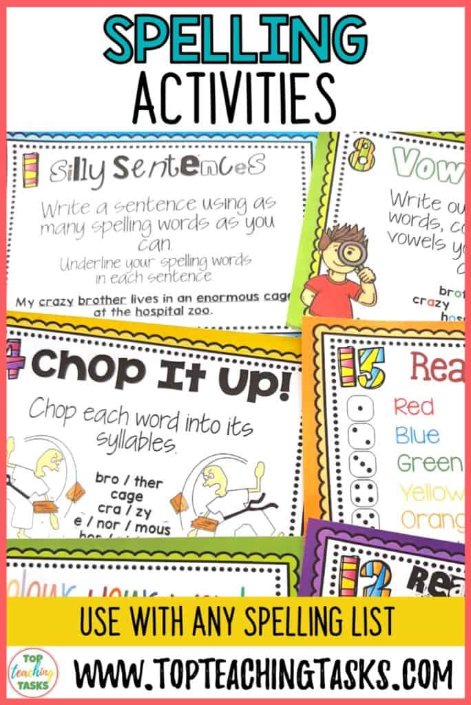 Spelling activities for any word list - spelling activity task cards