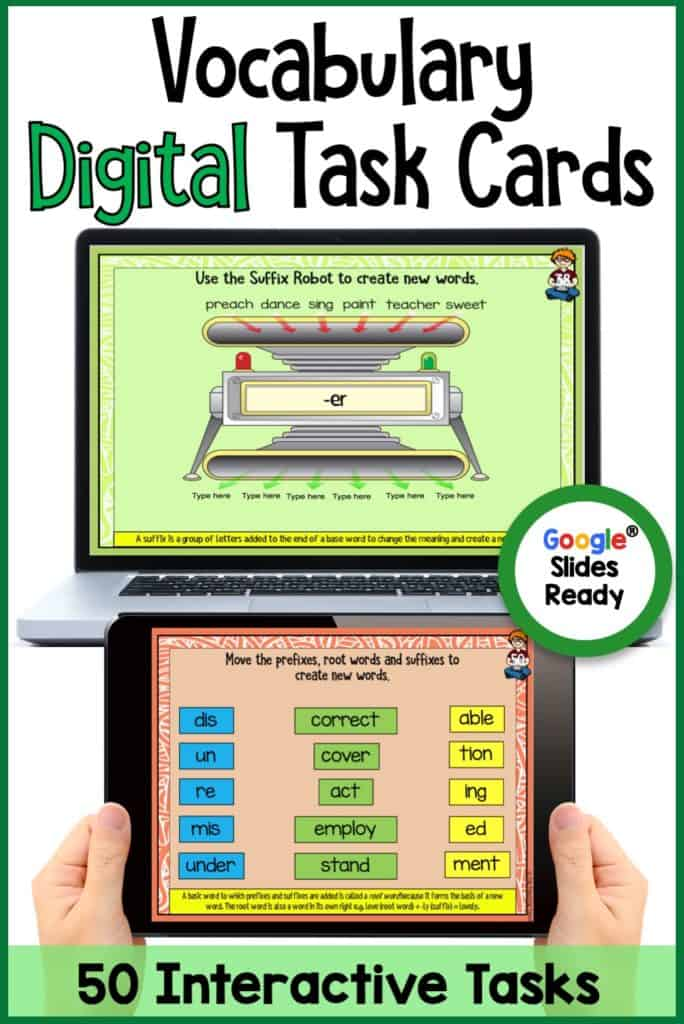 Vocabulary Digital Task Cards. Go paperless with our Google Slides-ready vocabulary language writing resource! 50 interactive slides. Mobile Learning. Google Resource. Digital Classroom. They are great for early finishers, bell ringer activities, learning about poetry, or homework. Activities for context clues, Prefixes and Suffixes, Greek and Latin Roots in 4th Grade and 5th Grade classrooms. #DigitalClassroom #Vocabulary #GoogleSlidesVocabulary