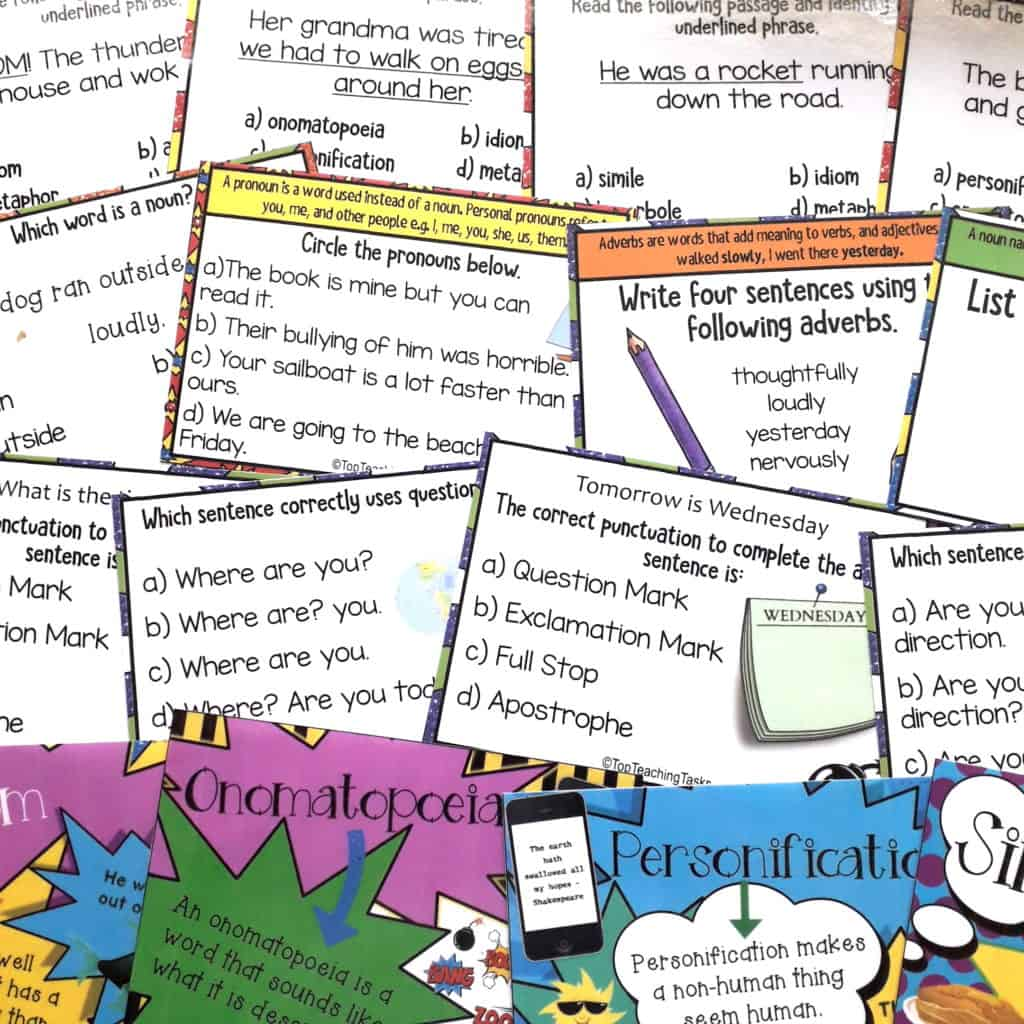 Grammar and Punctuation bundle task cards. Our Grammar and Language Task Cards bundle features six task card activity packs focused on Figurative Language, Parts of Speech, and Punctuation. These challenges and multi-choice questions will grab your students' attention and help to improve their writing.