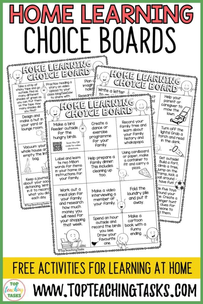 Free Home Learning Choice Boards. To help with any teachers dealing with school closures or the possibility of home and distance learning, I've put together these Home Learning Choice Boards.  I've curated the ideas into the following six Home Learning Choice Boards. I've also included a blank sheet that you could send home for families to write in their own ideas.