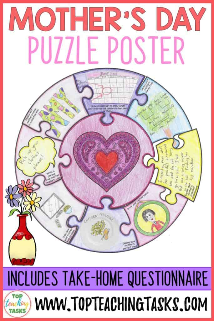 Mother's Day Puzzle Poster. Mother's Day is on its way and this puzzle will be perfect for a mother's day gift for the mom, mum or special one in your students' lives! Interview skills and listening skills are also introduced through the take-home questionnaire. Engage your students' artistic flair with the wide range of activities provided in this art and writing activity. Suitable for Year Four, Year Five, Year Six, Grade three, grade four, grade five, grade six. Features US and British spelling.