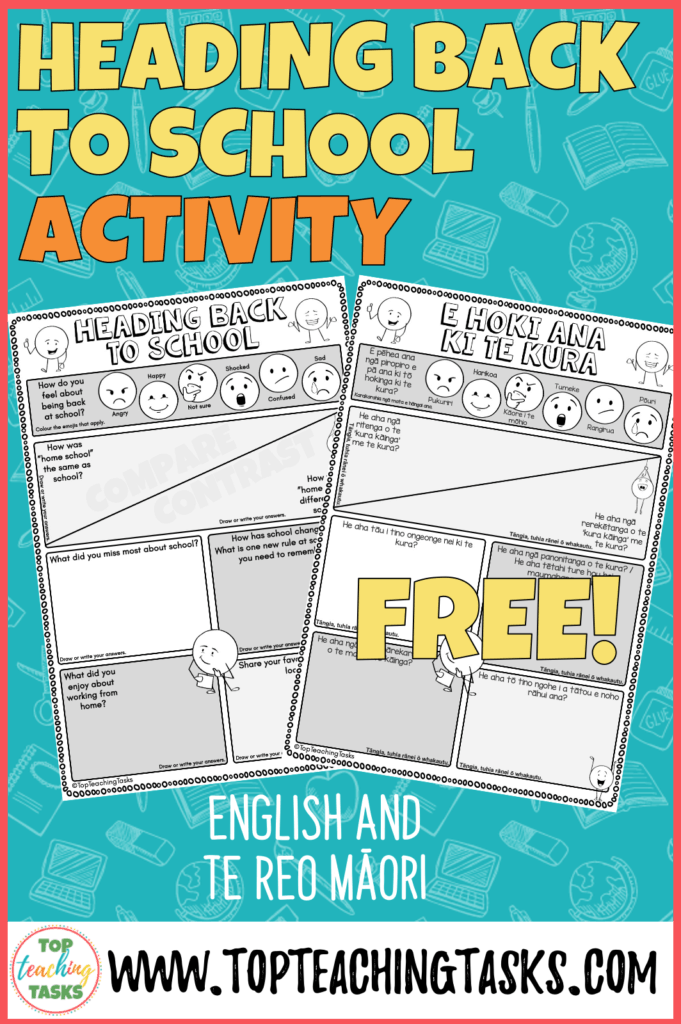 Heading back to school free resource I've put together a free one-page worksheet to help students get down their thoughts and feelings about the lockdown and heading back to school This free worksheet is provided in both English and Te Reo Māori, and I have also provided a blank version in case you would rather use your own sub-heading. Feel free to insert it into Google Slides or Seesaw and add text boxes!