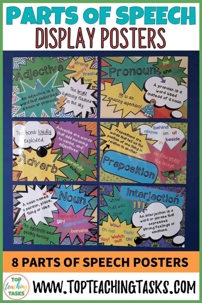 Parts of Speech Display posters. Parts of Speech posters help reinforce students' understanding of the various parts of speech, while at the same time brightening up your classroom walls and creating an engaging learning environment. This pack features both British and US Spelling and paper sizes. The eight parts of speech are included: Noun, Verb, Adverb, Adjective, Conjunction, Pronoun, Preposition, Interjection.